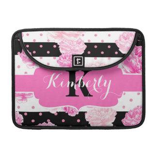 Chic Stripes Pink Watercolor Floral Monogram MacBook Pro Sleeve