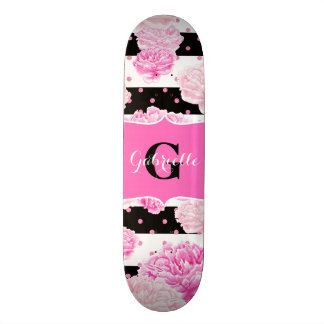 Chic Stripes Pink Watercolor Floral Monogram Skate Deck