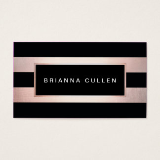Chic Stripes Rose Gold Salon Appointment Reminder Business Card
