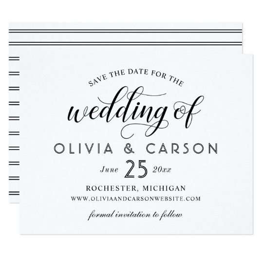 Chic Stripes Save the Date | Black and White Card