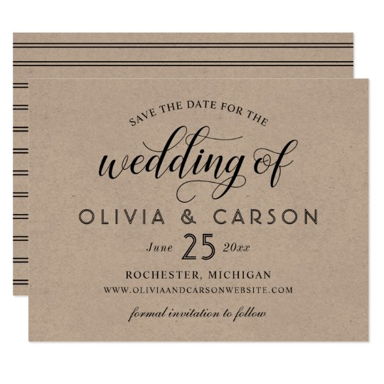 Chic Stripes Save the Date | Kraft Brown Card