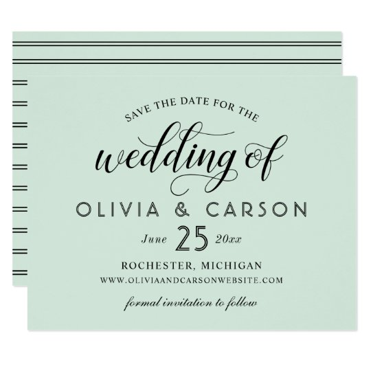 Chic Stripes Save the Date | Mint Green Card