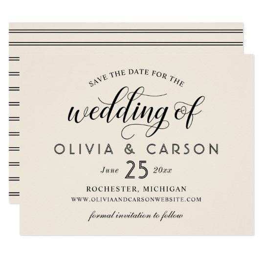 Chic Stripes Save the Date | Warm White Card