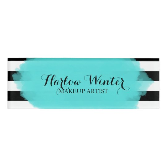 Chic Stripes Turquoise Black White Makeup Artist Name