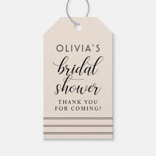 Chic Stripes | Warm White Bridal Shower Gift Tags