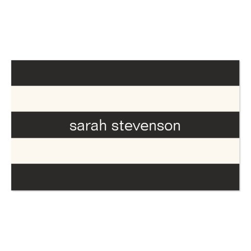Chic Stylish Black and Cream Striped Modern Business Card Templates