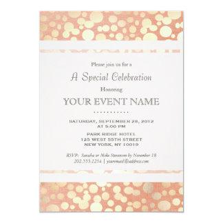 Chic Stylish Faux Gold Foil Circles & Peach Linen 13 Cm X 18 Cm Invitation Card