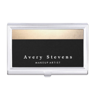 Chic Stylish Gold and Black Striped Business Card Holder