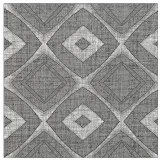 Chic Stylish Gray Faux Batik Linen Squares Pattern Fabric