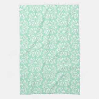 Chic stylish ornate mint green damask pattern tea towel