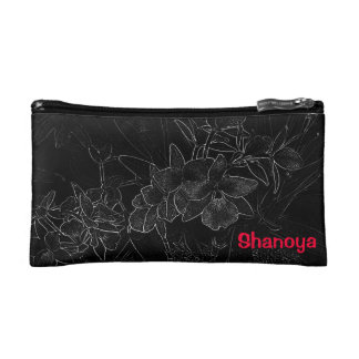 Chic Stylish Pink Black White Orchid Print Cosmetic Bags