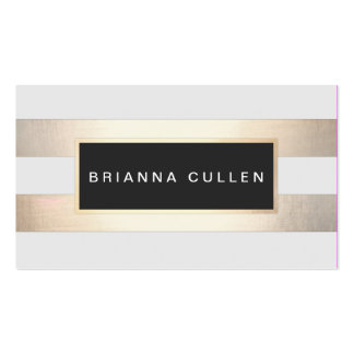 Chic Stylish Striped FAUX Gold and Black Plaque Pack Of Standard Business Cards