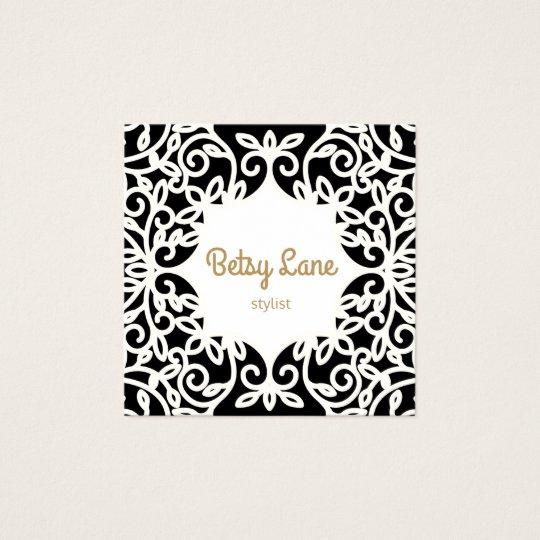 Chic Stylish Vintage Black and White Swirl Frame