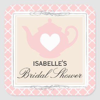 Chic Tan & Pink Teapot Bridal Shower Tea Sticker
