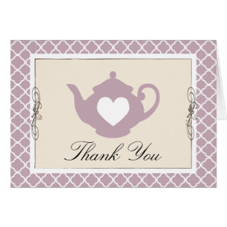 Chic Tan & Purple Teapot Trellis Thank You Card