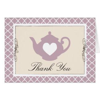 Chic Tan & Purple Teapot Trellis Thank You Card