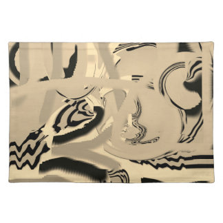 Chic Taupe and Black Art Cloth Placemats