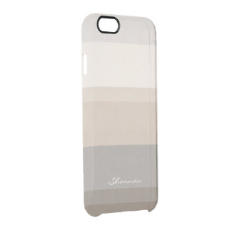 Chic Taupe, Cream and Gray striped iPhone 6 case iPhone 6 Plus Case