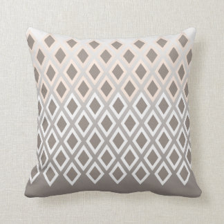 Chic Taupe & White Diamond Pattern Accent Cushion