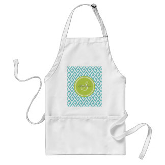 Chic teal abstract geometric pattern monogram adult apron