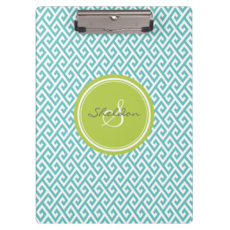 Chic teal abstract geometric pattern monogram clipboard