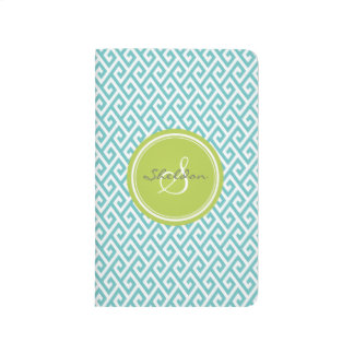Chic teal abstract geometric pattern monogram journal