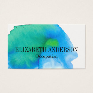 Chic Teal and Blue Hand Painted Watercolor Effect Business Card
