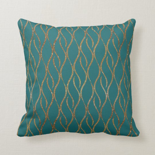 Chic Teal and Gold Modern Decorator Accent Pillow