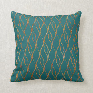 Chic Teal and Gold Modern Decorator Accent Pillow Cushions