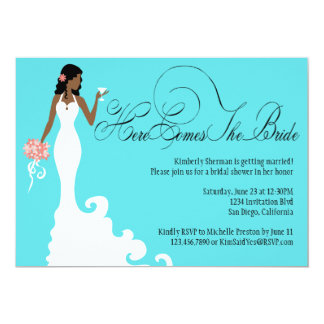Chic Teal Black Coral Here Comes the Bride 13 Cm X 18 Cm Invitation Card