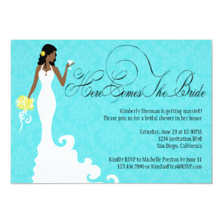 Chic Teal Black Yellow Damask Here Comes the Bride 13 Cm X 18 Cm Invitation Card