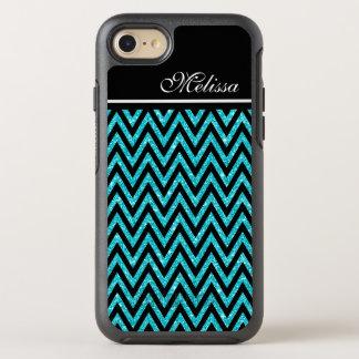 Chic Teal Blue Glitter Modern Black Chevron Stripe OtterBox Symmetry iPhone 7 Case
