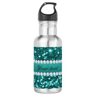 Chic Teal Faux Glitter and Diamonds 532 Ml Water Bottle