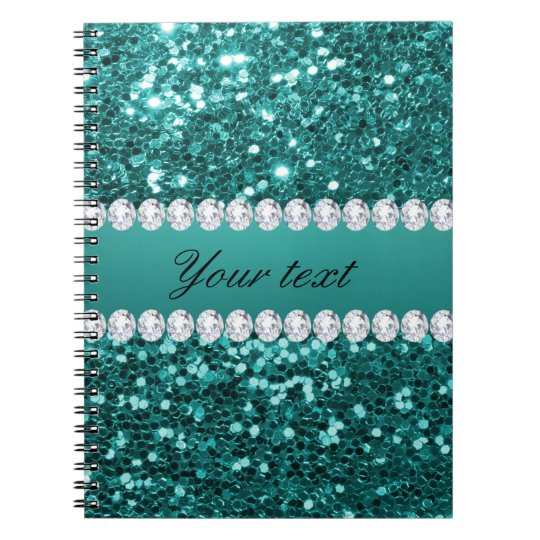 Chic Teal Faux Glitter and Diamonds Notebooks