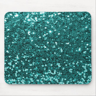 Chic Teal Faux Glitter Mouse Mat