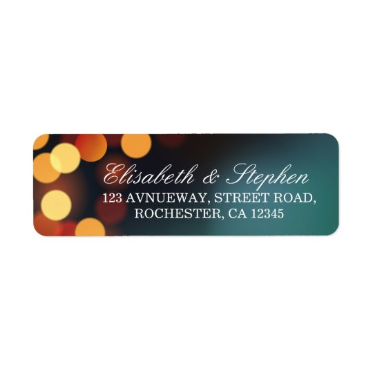 Chic Teal Gold Bokeh Glitter String Lights Wedding Return Address Label
