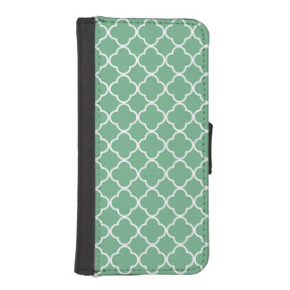 Chic Teal Green Quatrefoil Monochromatic Phone Wallets