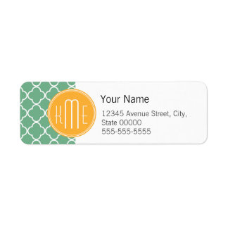 Chic Teal Green Quatrefoil with Yellow Monogram
