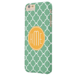 Chic Teal Green Quatrefoil with Yellow Monogram Barely There iPhone 6 Plus Case