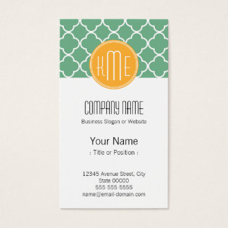 chic teal green quatrefoil with yellow monogram business card
