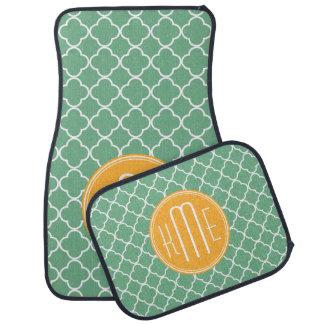 Chic Teal Green Quatrefoil with Yellow Monogram Car Mat