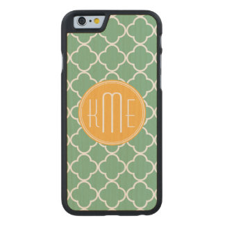 Chic Teal Green Quatrefoil with Yellow Monogram Carved® Maple iPhone 6 Slim Case