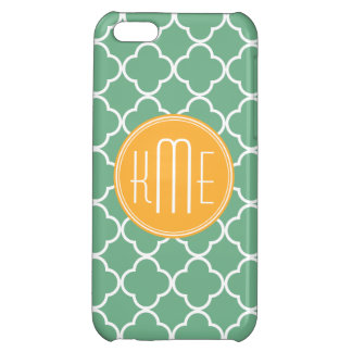 Chic Teal Green Quatrefoil with Yellow Monogram iPhone 5C Covers