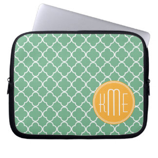 Chic Teal Green Quatrefoil with Yellow Monogram Laptop Sleeve