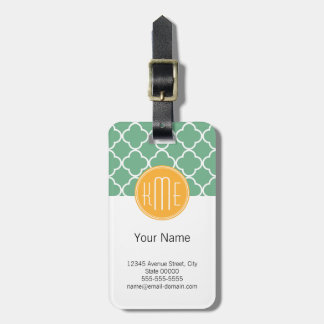 Chic Teal Green Quatrefoil with Yellow Monogram Luggage Tag