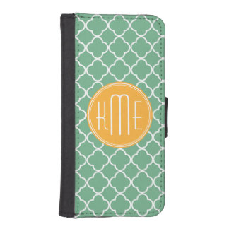 Chic Teal Green Quatrefoil with Yellow Monogram Phone Wallet
