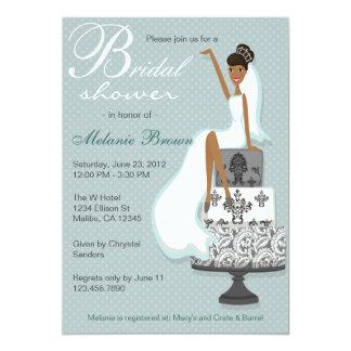 Chic Teal Modern Bride Contemporary Bridal Shower 13 Cm X 18 Cm Invitation Card