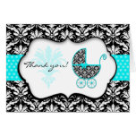 Chic Teal Polka Dot Damask Baby Shower Thank You Note Card