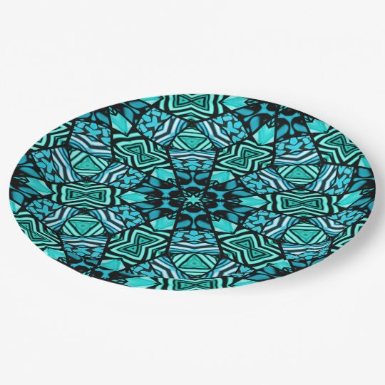 Chic Teal Turquoise Retro Oriental Mosaic Pattern Paper