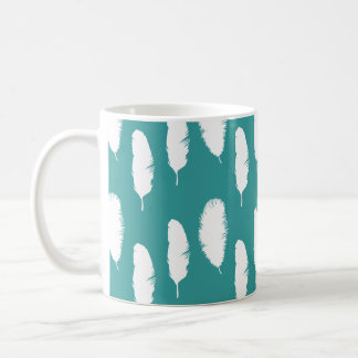 Chic Teal White Feathers Coffee Mug